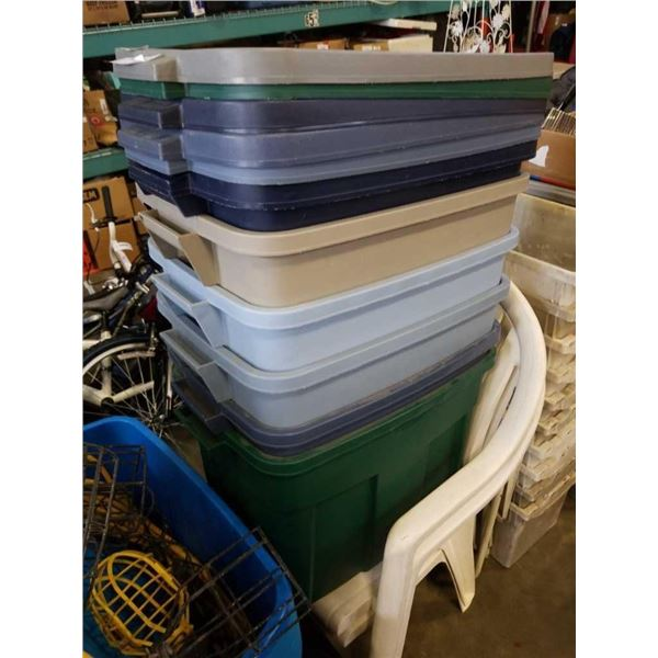 6 storage totes with lids