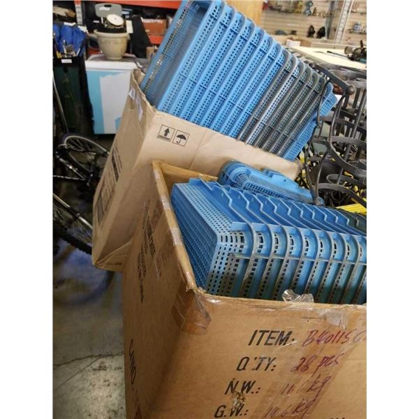 Two boxes of blue Parts trays