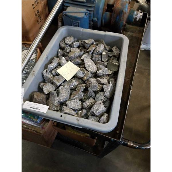 Large tote of silver mining ore around 100 lb