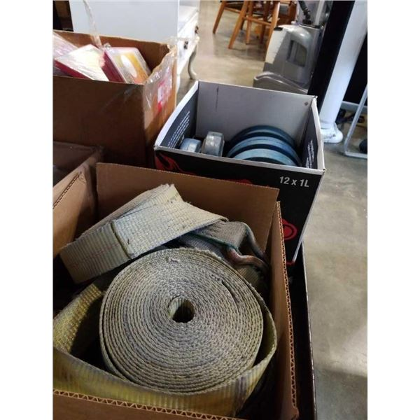 2 Boxes of tie down straps and cartwheels