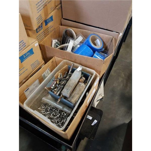 3 boxes of new sanding belts, rivets, drill bits and more