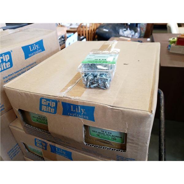 "Box of 10 x 3/4"" hex head tek screws"