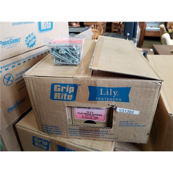 """Box of 10 x 2"""" flat wood screws"""