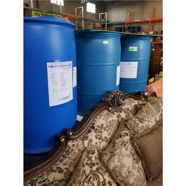 3 plastic 45 gallon mash barrels