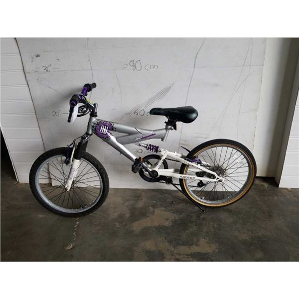SILVER AND PURPLE NEXT BIKE