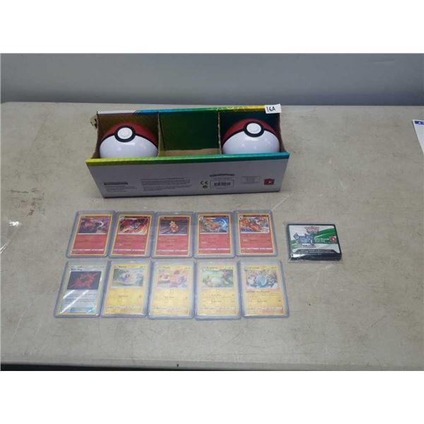 10 REVERSE HOLO SLEEVED POKEMON CARDS, 35 CODE CARDS AND 2 POKEBALLS