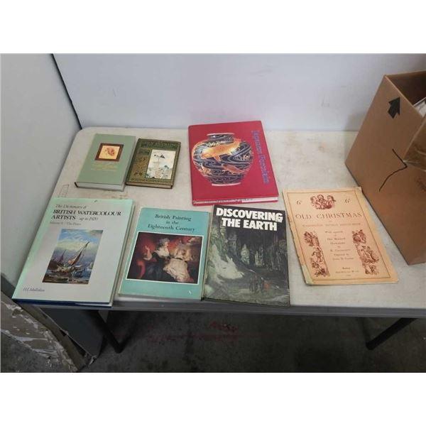 7 vintage collectibles, British painting, Japanese porcelain, British watercolor, Irving SketchBook,
