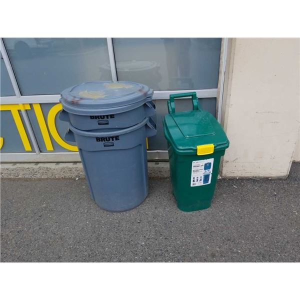 2 Brute garbage cans and green curbside organic bin