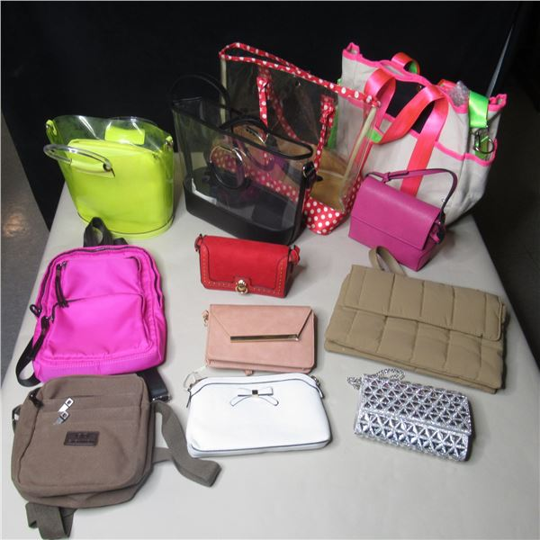 LOT OF 12 ASSORTED HAND BAGS / SACS A MAINS