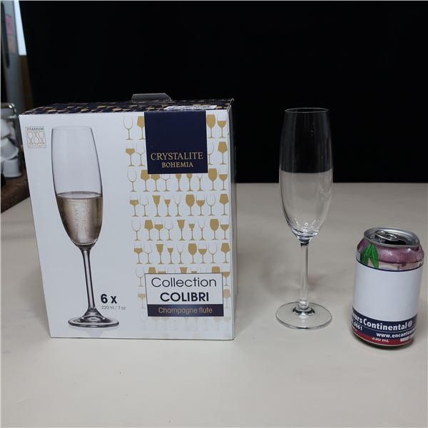 LOT: 12 CHAMPAGNE GLASSES BOHEMIA