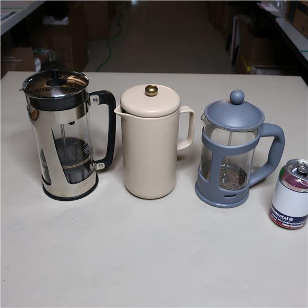 LOT: 3 FRENCH PRESS COFFEE MACHINE
