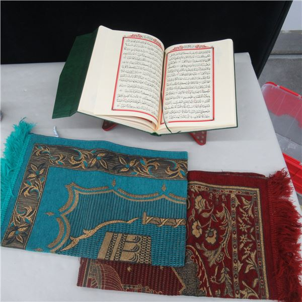 QURAN WITH STAND ETC  (3 PCS)