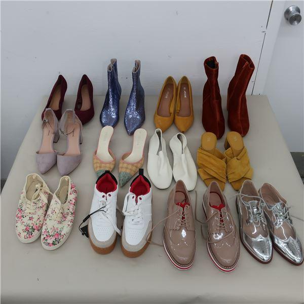 LOT: 12 ASSORTED WOMEN FOOTWEAR  - SIZE: 7.5-8