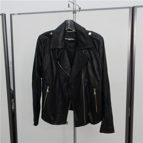 KARL LAGERFELD LEATHER JACKET - SIZE: LARGE, (MAIN CHARACTER)