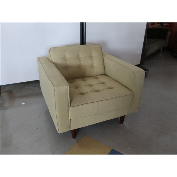 CHAIR, LIGHT OLIVE FABRIC