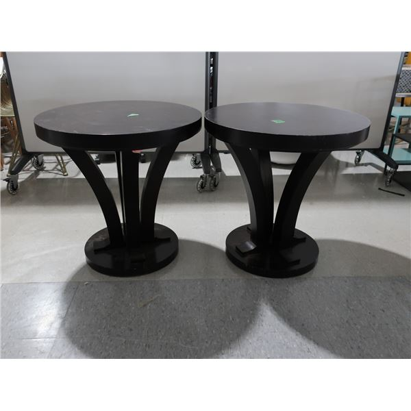 """LOT: (2) TABLE 25"""" DIA. X 24"""" BROWN WOOD"""