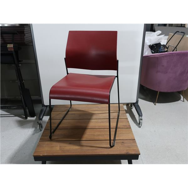 LOT: 4 STACKABLE CHAIRS, BURGUNDY, METAL BASE