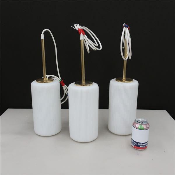 """LOT: 3 SUSPENDED LAMPS 5"""" DIA. X 10"""""""