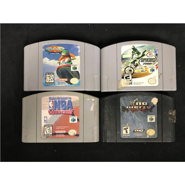 NINTENDO 64 VIDEO GAME LOT (WAVE RACE, SUPERCROSS 2000, NBA COURTSIDE & WWF NO MERCY)