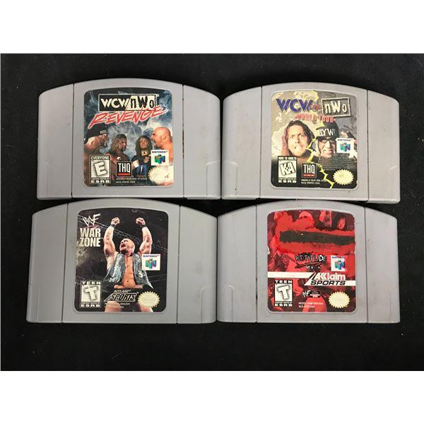 NINTENDO 64 VIDEO GAME LOT (WCW/NWO REVENGE, WCW VS NWO, WWF WAR ZONE & WWF ATTITUDE)