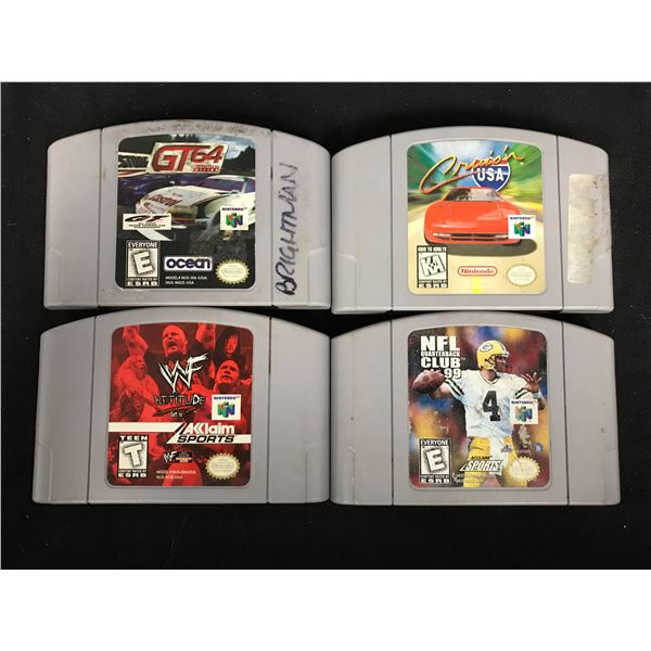 NINTENDO 64 VIDEO GAME LOT (GT 64, CRUISIN USA, WWF ATTITUDE & NFL QUARTERBACK CLUB 98)