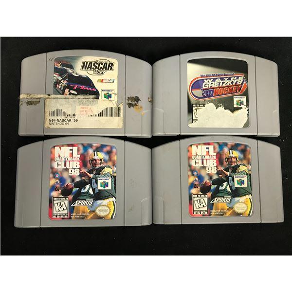 NINTENDO 64 VIDEO GAME LOT (NASCAR 99, WAYNE GRETZKY'S 3D HOCKEY & (2X) NFL QUARTERBACK CLUB 98)