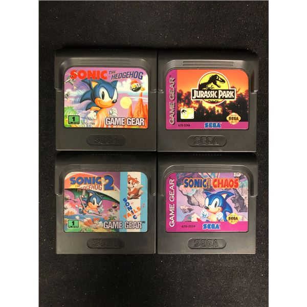 SEGA GAME GEAR VIDEO GAME LOT (SONIC THE HEDGEHOG, JURASSIC PARK,SONIC THE HEDGEHOG 2 & SONIC CHAOS