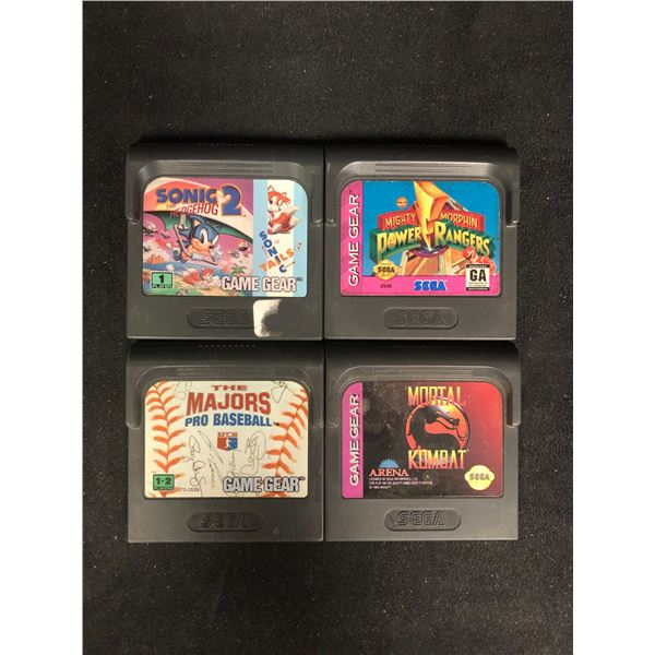 SEGA GAME GEAR VIDEO GAME LOT (SONIC THE HEDGEHOG 2, POWER RANGERS, THE MAJORS & MORTAL KOMBAT)