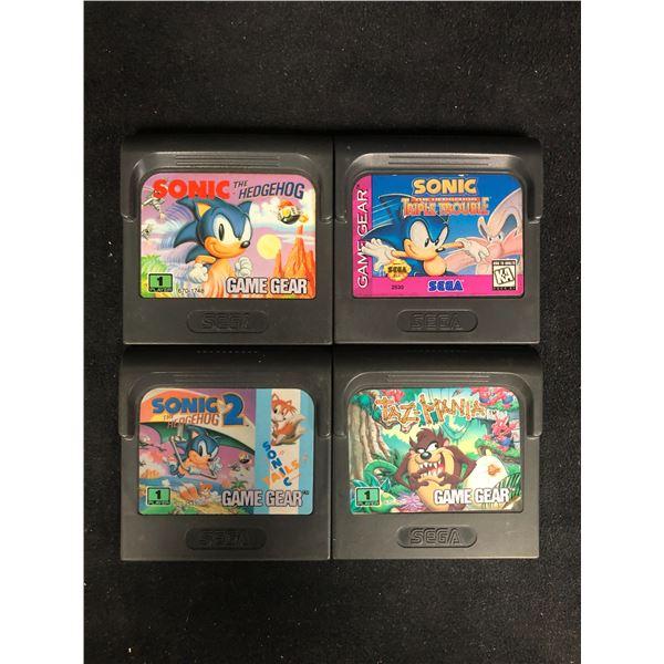 SEGA GAME GEAR VIDEO GAME LOT (SONIC THE HEDGEHOG, SONIC TRIPLE TROUBLE, SONIC 2 & TAZMANIA)
