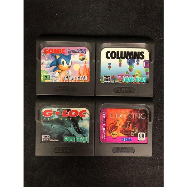 SEGA GAME GEAR VIDEO GAME LOT (SONIC THE HEDGEHOG, COLUMNS, G-LOC & THE LION KING)