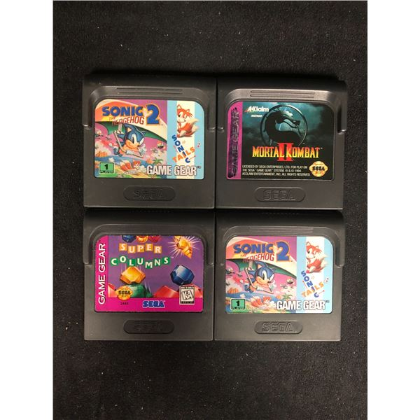 SEGA GAME GEAR VIDEO GAME LOT (SONIC THE HEDGEHOG 2, MORTAL KOMBAT 2, SUPER COLUMNS & SONIC 2)