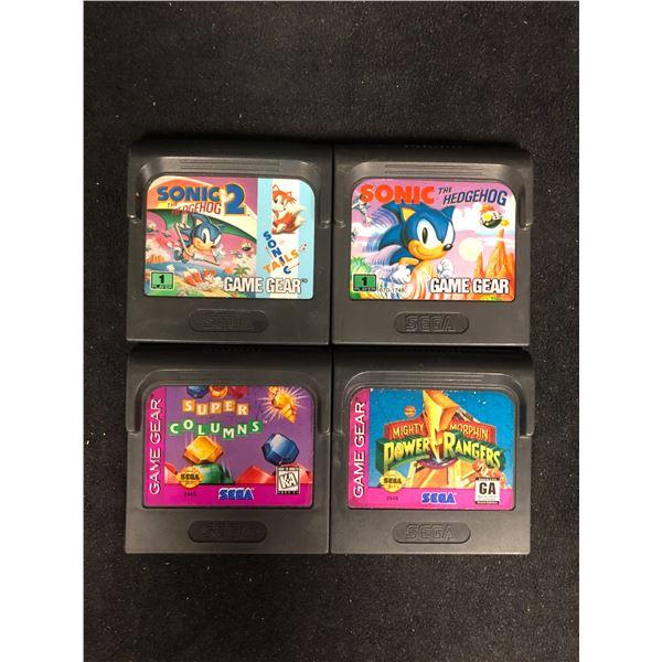 SEGA GAME GEAR VIDEO GAME LOT (SONIC 2, SONIC THE HEDGEHOG, SUPER COLUMNS & POWER RANGERS)