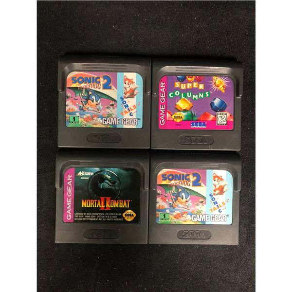 SEGA GAME GEAR VIDEO GAME LOT (SONIC 2, SUPER COLUMNS, MORTAL KOMBAT 2 & SONIC 2)