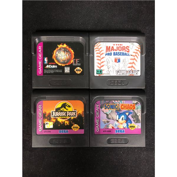 SEGA GAME GEAR VIDEO GAME LOT (NBA JAM, THE MAJORS, JURASSIC PARK & SONIC CHAOS)