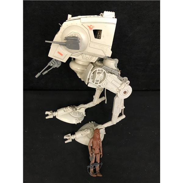 VINTAGE KENNER STAR WARS AT-ST WALKER  AND CHEWBACCA ACTION FIGURE