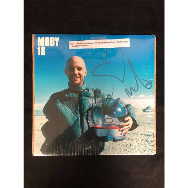 """MOBY SIGNED 19"""" POSTER w/ COA (Excellent Condition)"""