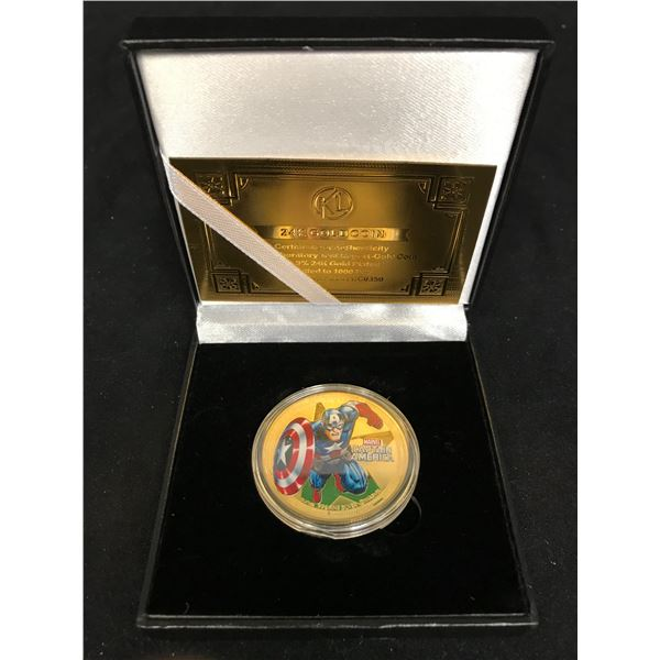 CAPTAIN AMERICA GOLD PLATED COLLECTORS COIN