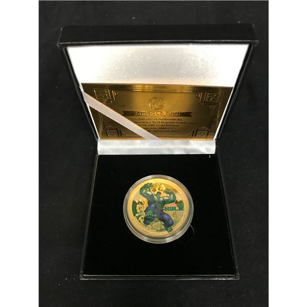 THE INCREDIBLE HULK GOLD PLATED COLLECTORS COIN