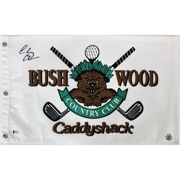 CHEVY CHASE CADDYSHACK AUTHENTIC SIGNED BUSHWOOD COUNTRY CLUB FLAG (BECKETT HOLO)
