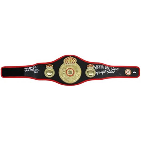 IRON MIKE TYSON SIGNED FULL-SIZE WBA BELT W/5 INSCRIPTIONS (PSA/DNA COA)
