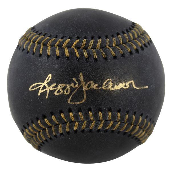 REGGIE JACKSON AUTHENTIC SIGNED BLACK OML BASEBALL (BECKETT COA)