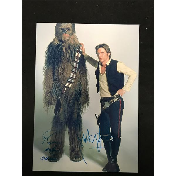 HARRISON FORD & PETER MAYHEW SIGNED PHOTO (REAL AUTHENTIC COA)