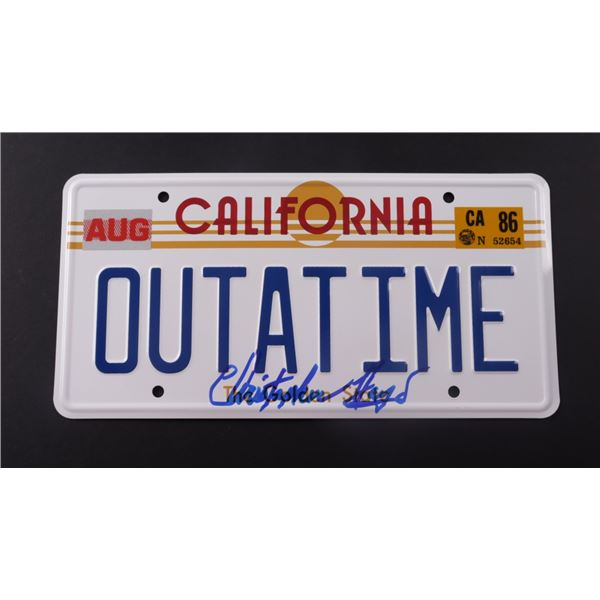 """CHRISTOPHER LLOYD SIGNED """"BACK TO THE FUTURE"""" CALIFORNIA LICENSE PLATE (BECKETT COA)"""