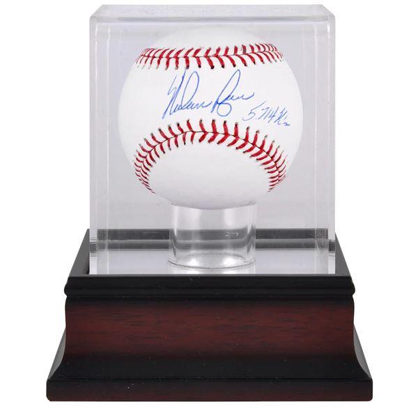 """Nolan Ryan Autographed Baseball w/""""5714 K's"""" Inscription & Mahogany Display Case (FANATICS COA)"""