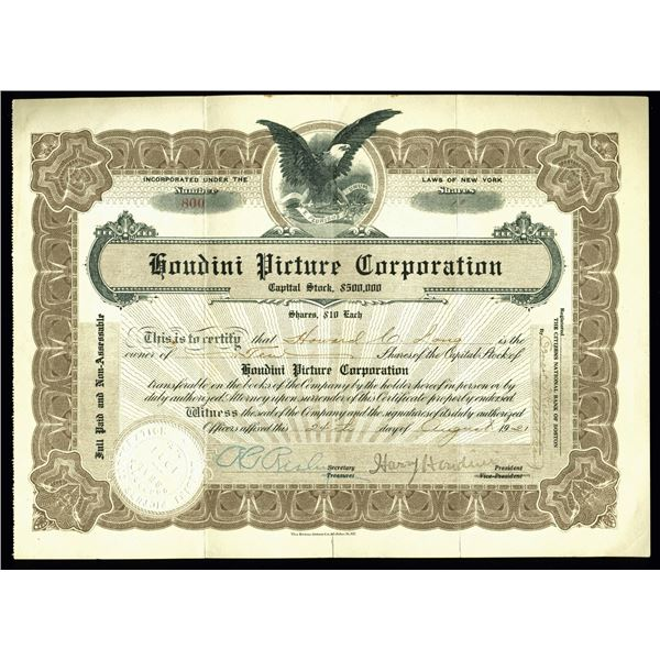 Harry Houdini Signed Houdini Picture Corporation Stock (Certificate Beckett)