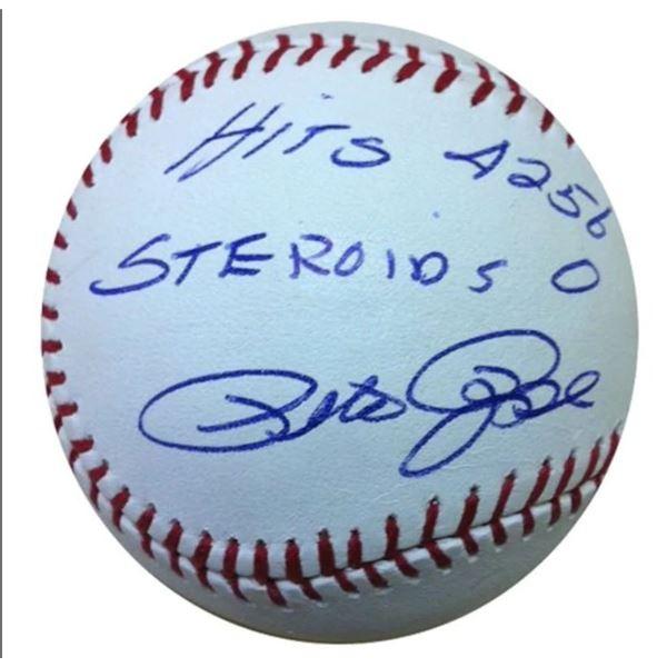 """Pete Rose Autographed Baseball - Official Rawlings Major League """"Hits 4256 Steroids 0"""" w/ COA"""