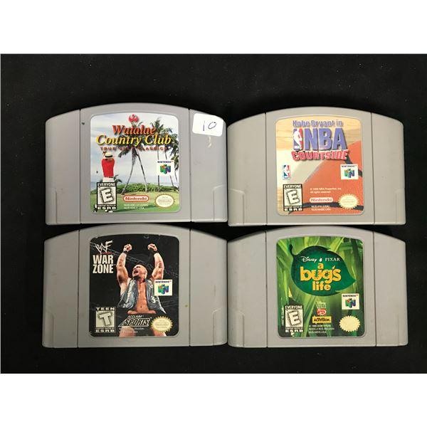 NINTENDO 64 VIDEO GAME LOT (WAIALAE GOLF, NBA COURTSIDE, WWF WARZONE & A BUG'S LIFE)