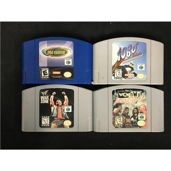 NINTENDO 64 VIDEO GAME LOT (TONY HAWK'S PRO SKATER, 1080 SNOWBOARDING, WAR ZONE & WCW/NWO REVENGE)