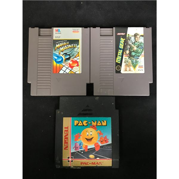 NINTENDO VIDEO GAME LOT (MARBLE MADNESS, METAL GEAR & PAC-MAN)