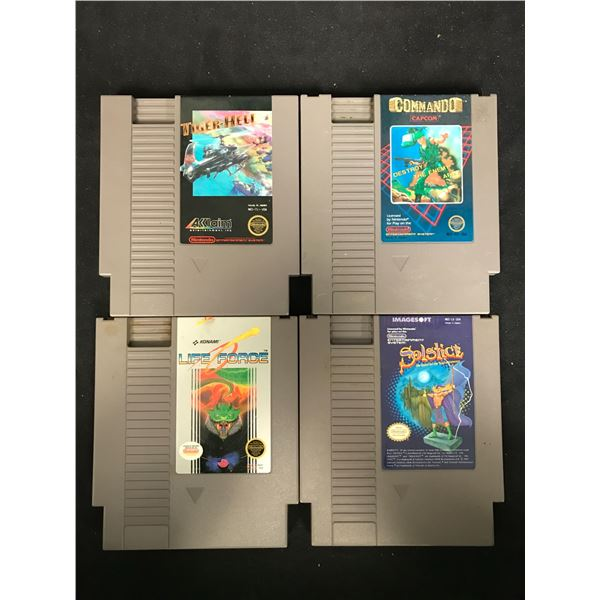 NINTENDO VIDEO GAME LOT (TIGER HELL, COMMANDO, LIFE FORCE & SOLSTICE)
